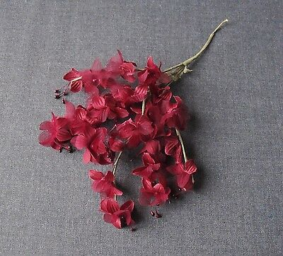 Vintage Burgundy Fabric Flowers Bunch For Millinery Or Project