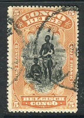 BELGIUM CONGO;  1900s early classic pictorial issue used 5Fr. value,