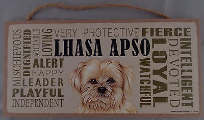 LHASA APSO Subway Style  5 X10 hanging Wood Sign made in the USA