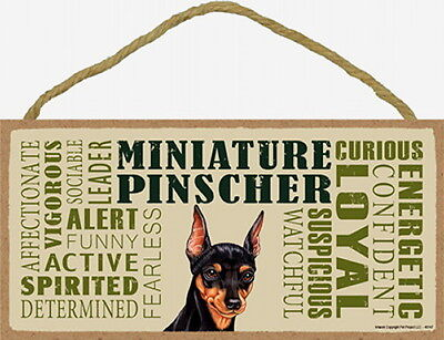 MINIATURE PINSCHER Subway Style  5 X10 hanging Wood Sign made in the USA