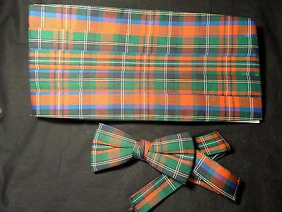 Vintage New Green Red Cotton Plaid Cummerbund W Bow Tie Set