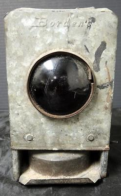 Antique Rare Borden's Galvanized Steel Buggy Tail Light Lantern Red Convex Lens