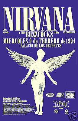 Nirvana & BuzzCocks at Italy Concert Poster 1994 Large Format  24x36