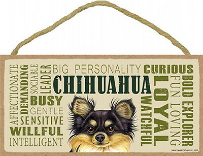 CHIHUAHUA Longhaired Black & Tan  Subway Style 5 X10 hanging Wood Sign USA made
