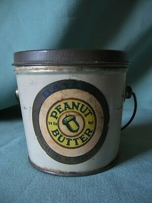VTG RARE Advertising Peanut Butter Tin Pail Paper Label ACORN BRAND 14 Oz.