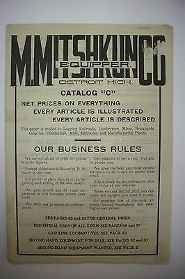 1900's Railroad Trade Catalog: M. MITSHKUM CO. with Used Autos FORD*PACKARD++