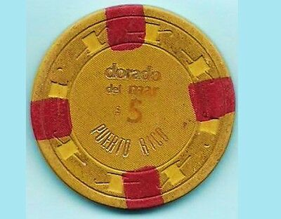 1973 DORADO DEL MAR Hotel $5 Yellow Red Casino Chip PUERTO RICO PAULSON H&C mold