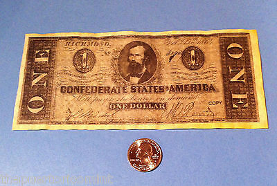 $1 CONFEDERATE STATES 1864 SENATOR CLEMENT C. CLAY Civil War Educational Prop
