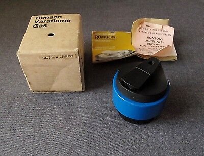 Vintage Space Age Blue & Black Ronson Varaflame Carousel Mkii Lighter In Box