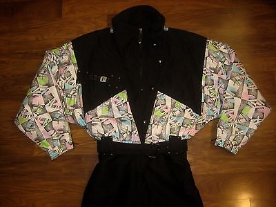 Vtg 80s Neon KAELIN Mens Small Womens 12 Onesie Snow SKI Suit BIB coat Snowsuit