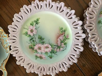 Set of 8 Antique Vintage shabby chic hand painted dessert plates