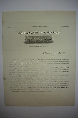 1883 Railroad Advertising Sheet CENTRAL-SUPPORT CAR-TRUCK CO, ST LOUIS, MISSOURI