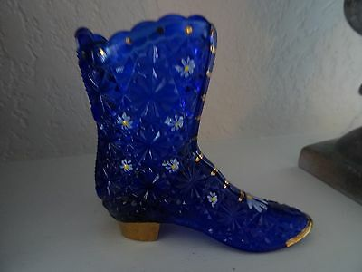 Signed DON Fenton Glass HandPainted Hightop BOOT COBALT Figurine Daisy Button
