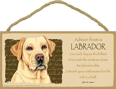 Advice from a LABRADOR 5 X10 hanging Wood Sign USA made YELLOW LAB RETRIEVER