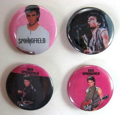 RICK SPRINGFIELD 1982 Pinback Buttons Pins Badges 4 Different