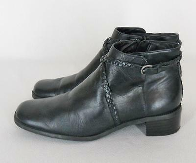 VTG 90s Michelle D Black Leather Braided Strap Made Brazil Short Ankle Boots 8