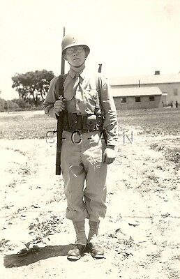 WWII Original Large Army RP- Soldier- Kit- Helmet- Sling Arms- 1903A3 Rifle