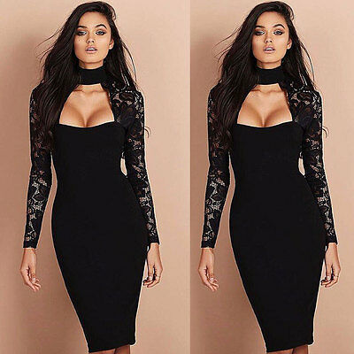 Women Summer Long Sleeve Lace Casual Evening Party Cocktail Short Mini Dress US