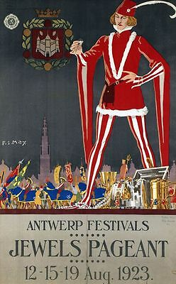 "Vintage Illustrated Travel Poster CANVAS PRINT Belgium Jewels Pageant 16""X12"""