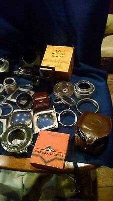 Large Lot Of Assorted Vintage Camera Equipment Lenses, Meters