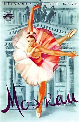 "Vintage Illustrated Travel Poster CANVAS PRINT Moscow Ballet USSR 16""X12"""