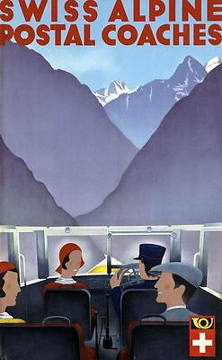 "Vintage Illustrated Travel Poster CANVAS PRINT Swiss Alpine Coaches 16""X12"""