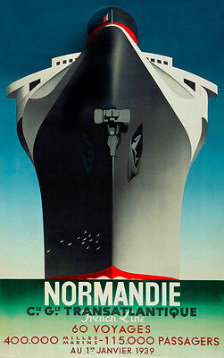 "Vintage Illustrated Ship Travel Poster CANVAS PRINT 16""X12"" Normandie France"