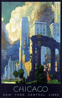"Vintage Illustrated Travel Poster CANVAS PRINT Chicago New York Central  16""X12"""