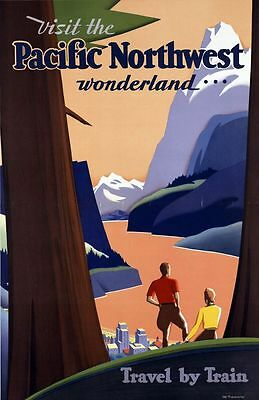 "Vintage Illustrated Travel Poster CANVAS PRINT Pacific Northwest Train 16""X12"""