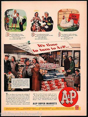 1945 A&P Supermarkets Grocery Store Interior Photo Bread  Forties Housewives AD