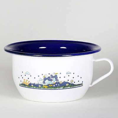 Luxury Enamel Night Pot Night Tea Pot With Geese Decor 22 Cm Potty