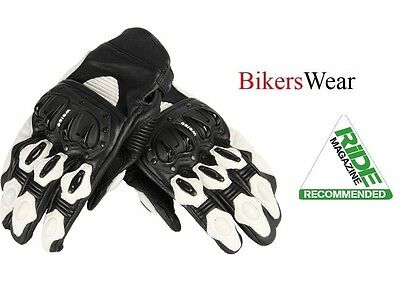 Weise Daytona Short Leather Street Bike Motorcycle Summer Glove Black/White