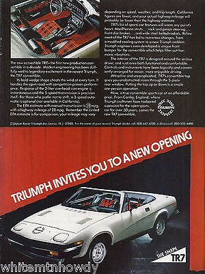 1979 TRIUMPH TR7 Vintage White Sports Car Photo AD 1980 Model?