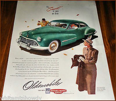Oct. 1947 OLDSMOBILE Green COUPE Car AD 1948 model?