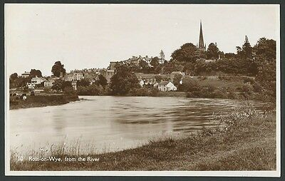Ross On Wye Herefordshire From The River c1930s Real Photo Postcard