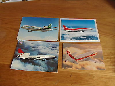 7 x colour postcards of airlines that flew L1011 Tristar aircraft