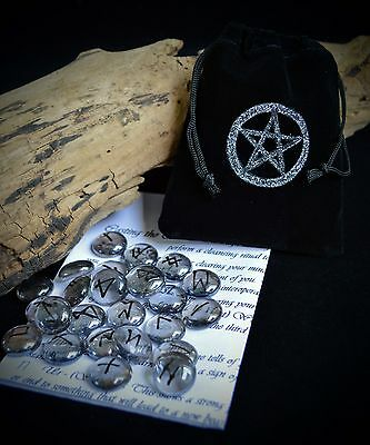 25 GLASS RUNE STONES & BAG Wicca Pagan Witchcraft Runes Pentacle Divination