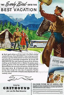 Greyhound Lines YOU SEE THE REAL AMERICA - Original Anzeige von 1947