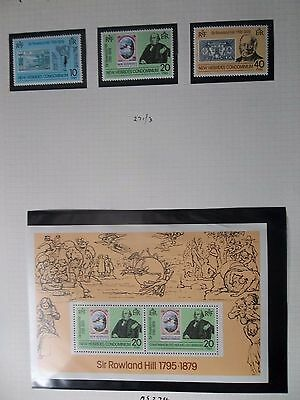 New Hebrides 1979 Rowland Hill Set, M/s, Gutters English And French Um Used