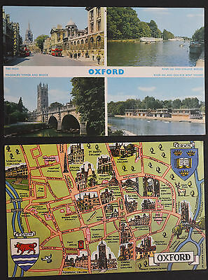 2 x Postcards ~ Oxford Multiview & Map