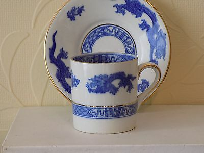 old cauldon Blue and white Dragon Coffee Can / Cup & saucer