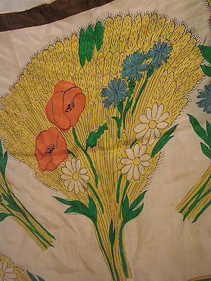 "Vintage 60s Scarf SILK Wheat harvest large 33""  Flowers Hand rolled"