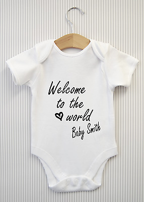 Personalised Welcome to the world Baby Shower Grow Babygrow Bodysuit Vest Giift