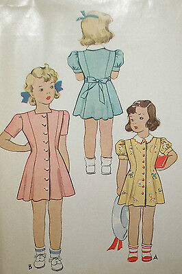 Vintage 40s McCall 5003 Adorable Girls Dress & Panties Pattern sz 3 FF