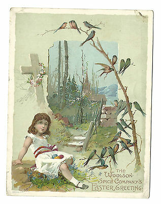 Old Trade Card Lion Coffee Woolson Spice Toledo OH Easter Greetings Bluebirds