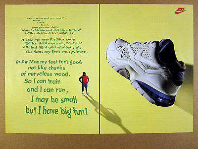 1993 Nike AIR MAX Running Training Shoe color photo vintage print Ad