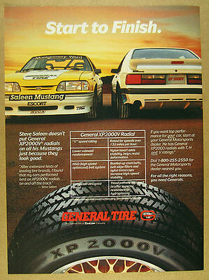 1987 general tire Saleen Ford Mustang race & street cars photo vintage print Ad