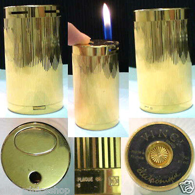 BRIQUET Ancien VINCI électronique Cylindrique Desk Lighter Feuerzeug Accendino