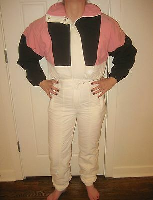 Vtg 80s 90s FORTE Color Block Womens 6 Onesie suit SKI Bunny BIB Coat Snowsuit