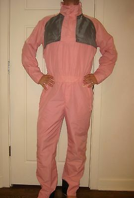 Vtg 80s Skitique Pink Unisex MEDIUM Onesie Snow SKI Suit BIB Coat Shell Snowsuit